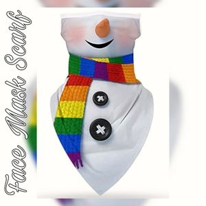 Unisex Face Mask Scarf, Winter Snowman Frosty ⛄